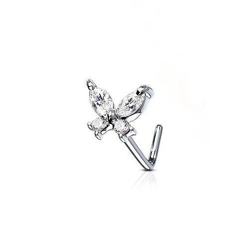 Silver Cubic Zirconia Butterfly Nose Stud