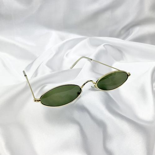 Khaki Retro Oval Sunglasses