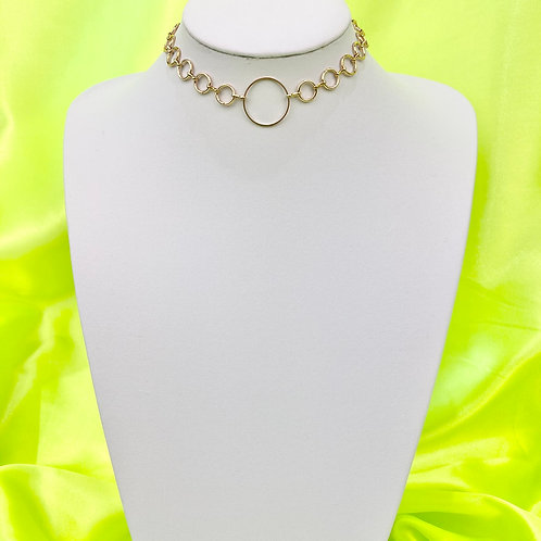 Gold Circle Chain Choker Necklace