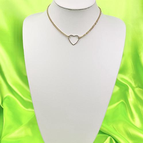 Gold Dainty Heart Choker Necklace