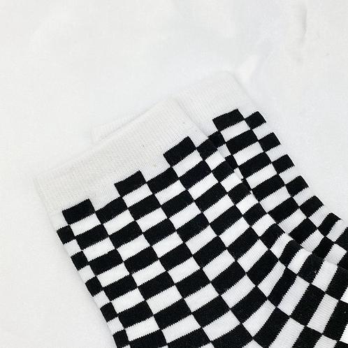 Black & White Checkered Socks