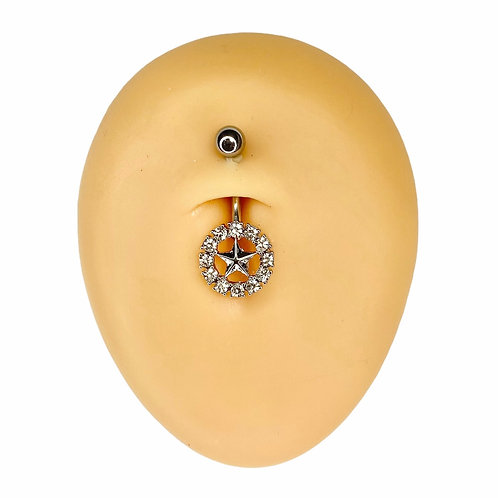 Silver Crystal Circle Star Belly Bar