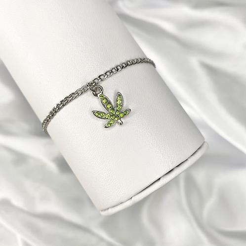 Green Crystal Paved Weed Bracelet