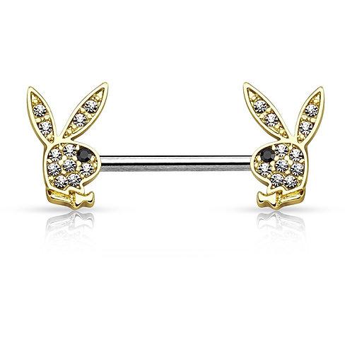 Gold Playboy Rhinestone Nipple Bar