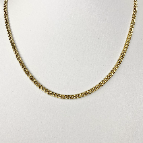 Gold 4mm Curb Chain Necklace