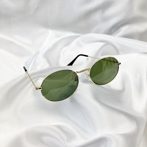 Khaki Wide Oval Sunglasses