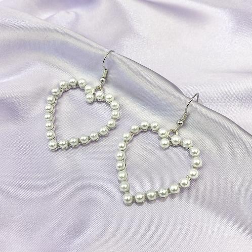 Silver Pearl Heart Earrings