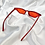 Thumbnail: Red Clear Rectangle Cat Eye Sunglasses