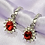 Thumbnail: Red Rhinestone Gem Hoop Earrings