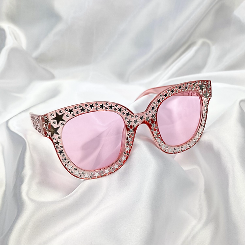 Pink Clear Star Square Sunglasses