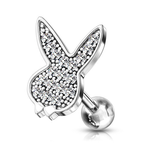Silver CZ Paved Playboy Barbell Stud