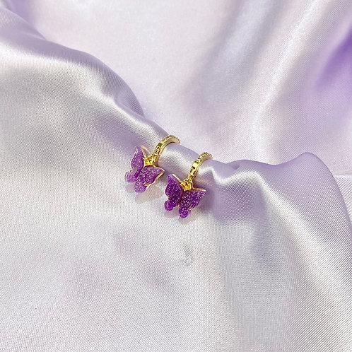 Purple Glitter Rhinestone Butterfly Hoop Earrings