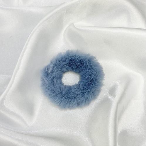 Steel Blue Fur Scrunchie