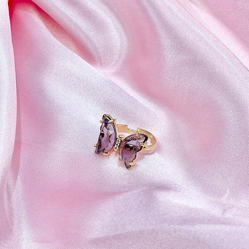 Purple Clear Rhinestone Butterfly Ring