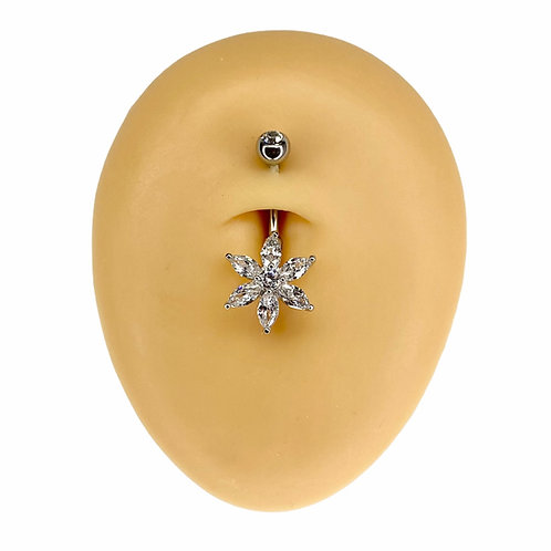 Silver CZ Marquise Flower Belly Bar