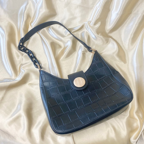 Black Croc Front Shoulder Bag
