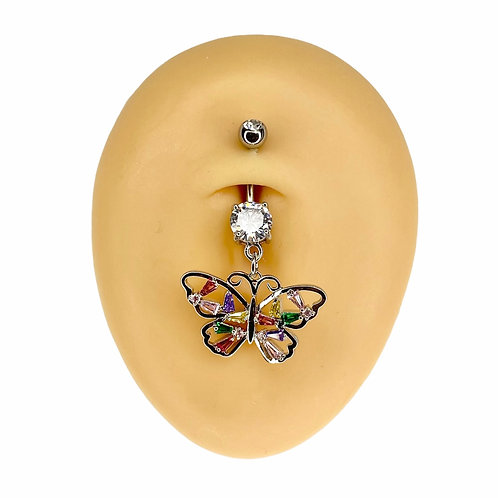 Silver Colourful Crystal Butterfly Dangle Belly Bar