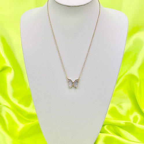 Violet Clear Rhinestone Butterfly Necklace