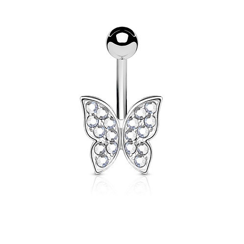 Clear Crystal Paved Butterfly Belly Bar