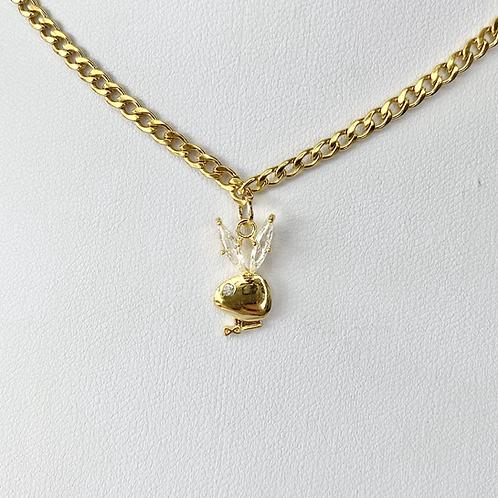 Gold CZ Ear Playboy Necklace