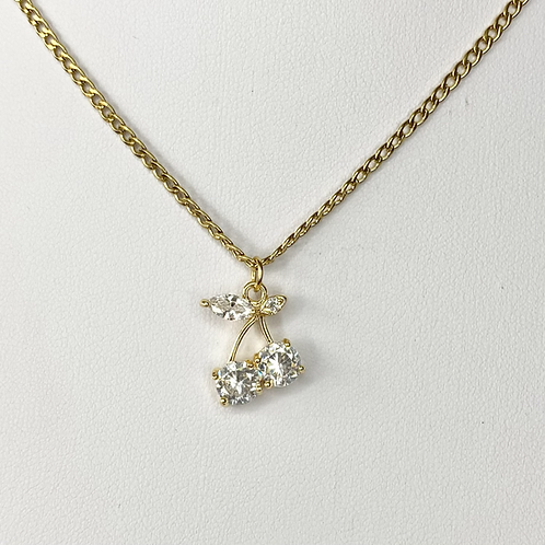 Gold CZ Bling Cherry Necklace