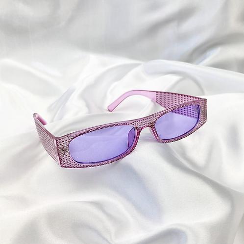 Purple Clear Retro Embossed Rectangle Sunglasses