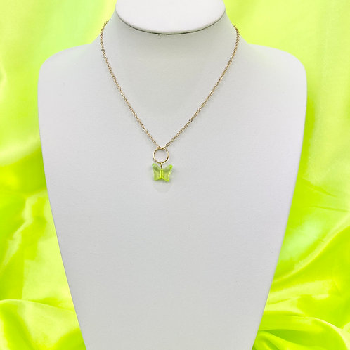 Green Butterfly Bead Necklace