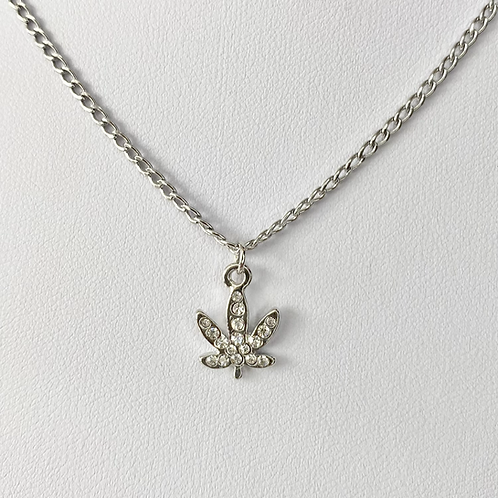 Silver Crystal Paved Weed Leaf Necklace
