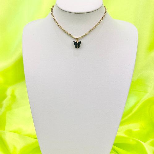Black Grey Rhinestone Butterfly Choker Necklace