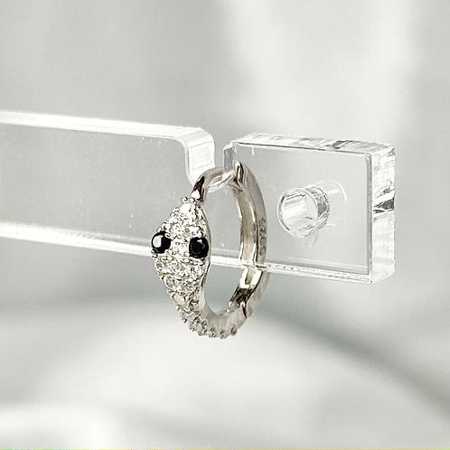 Silver Black Eye CZ Snake Earrings