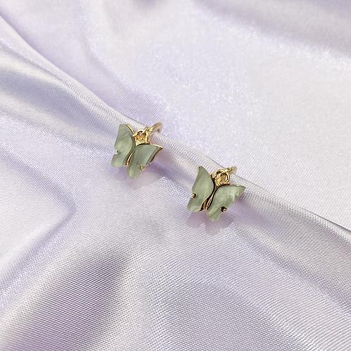 Grey Butterfly Hoop Earrings