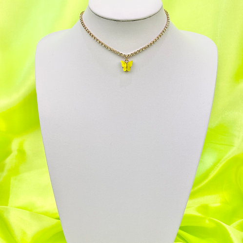 Yellow Rhinestone Butterfly Choker Necklace