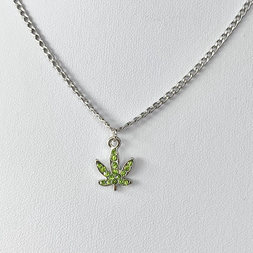 Green Crystal Paved Weed Leaf Necklace