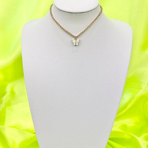 White Rhinestone Butterfly Choker Necklace