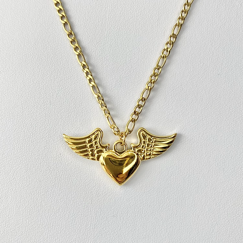 Gold Winged Heart Necklace