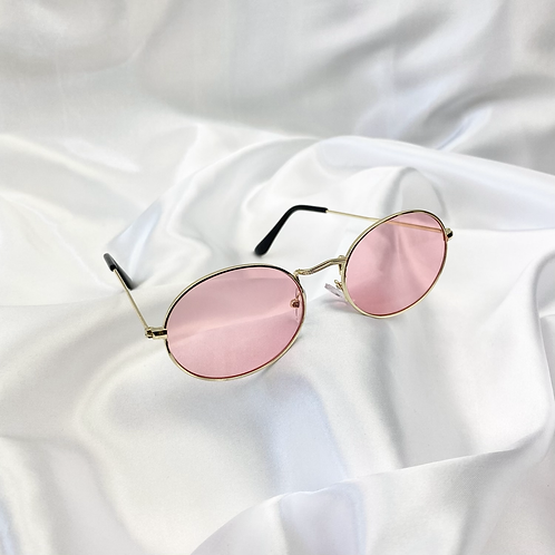 Pink Wide Oval Sunglasses