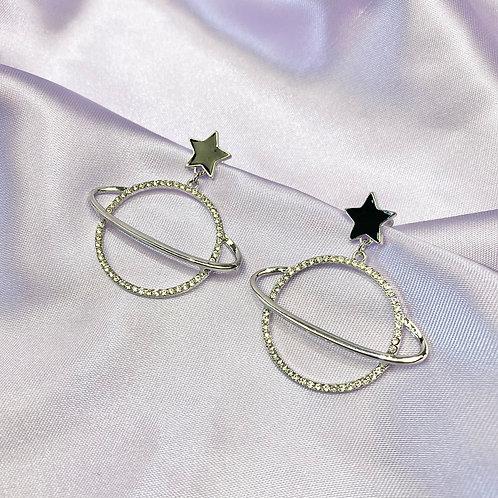 Silver & Black Rhinestone Star Planet Earrings
