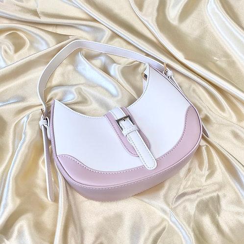 White & Dusty Pink Buckle Front Shoulder Bag