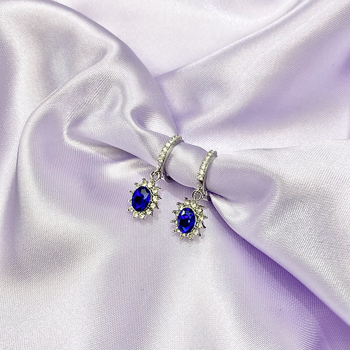 Blue Rhinestone Gem Hoop Earrings