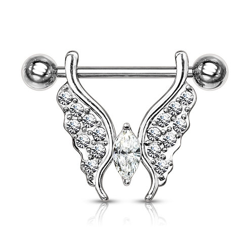 Clear Crystal Paved Butterfly Nipple Bar
