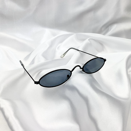 Black Retro Oval Sunglasses