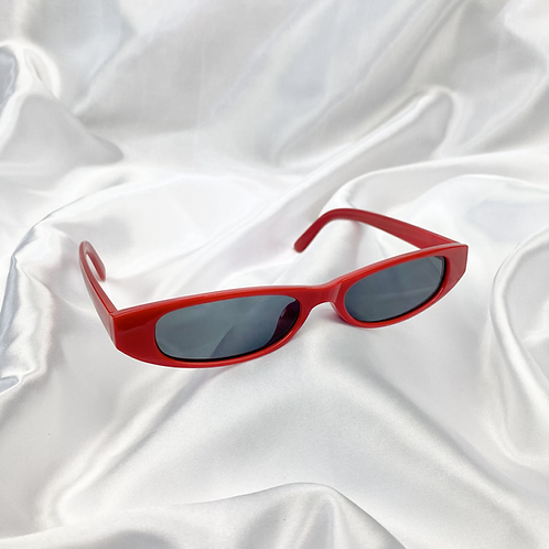 Red Retro Rectangle Sunglasses