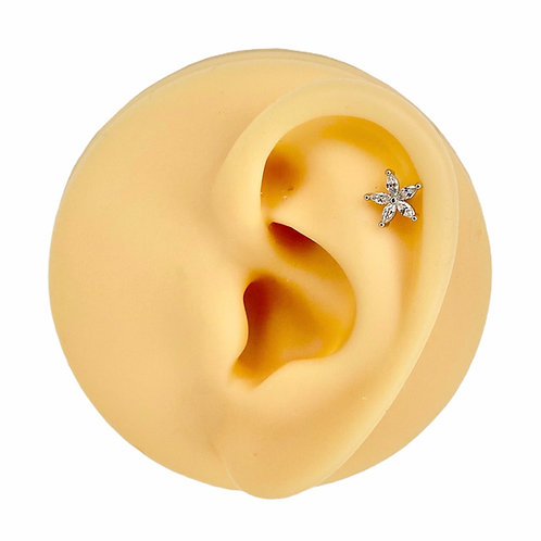 Silver Marquise CZ Flower Flat Back Stud