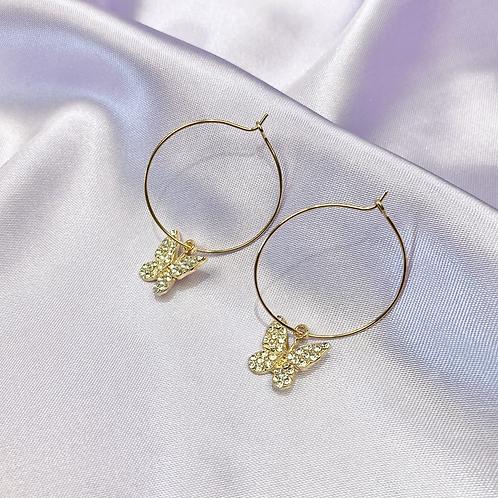 Gold Rhinestone Butterfly Hoop Earrings