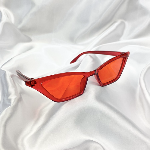 Red Clear Rectangle Cat Eye Sunglasses