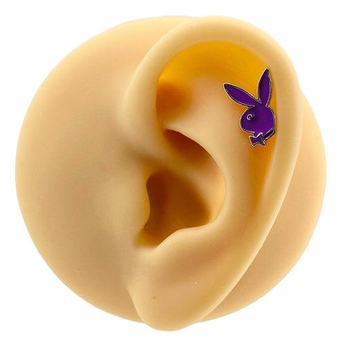 Purple Enamel Playboy Barbell Stud