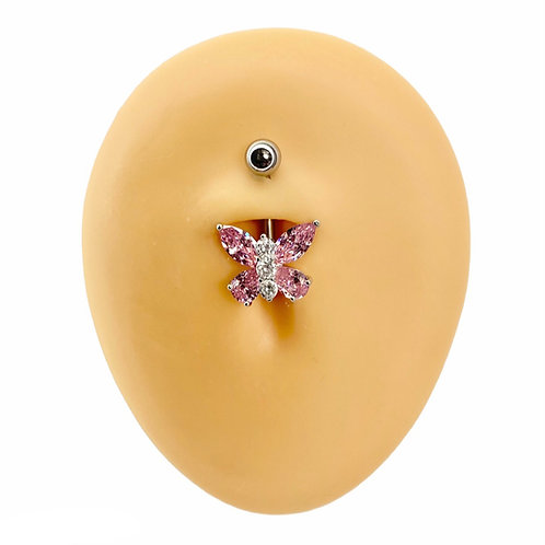 Pink Bling Butterfly Belly Bar