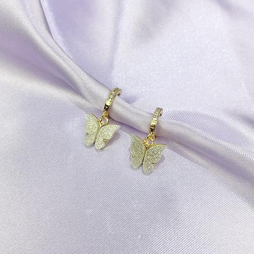 White Glitter Rhinestone Butterfly Hoop Earrings