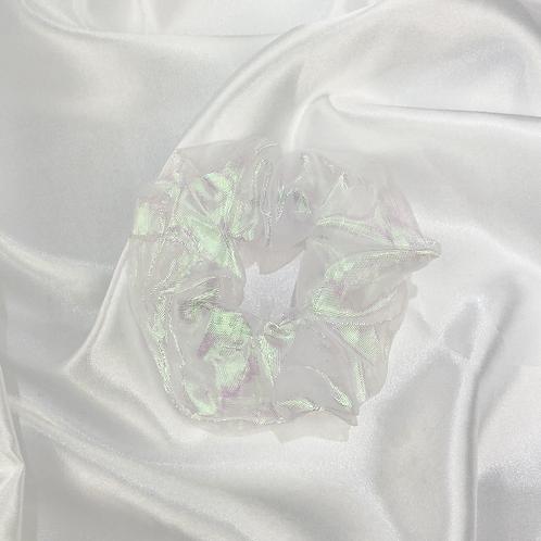White Iridescent Scrunchie