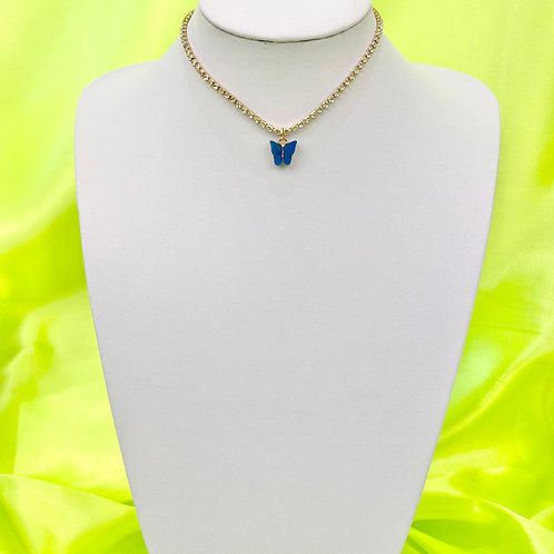 Blue Rhinestone Butterfly Choker Necklace